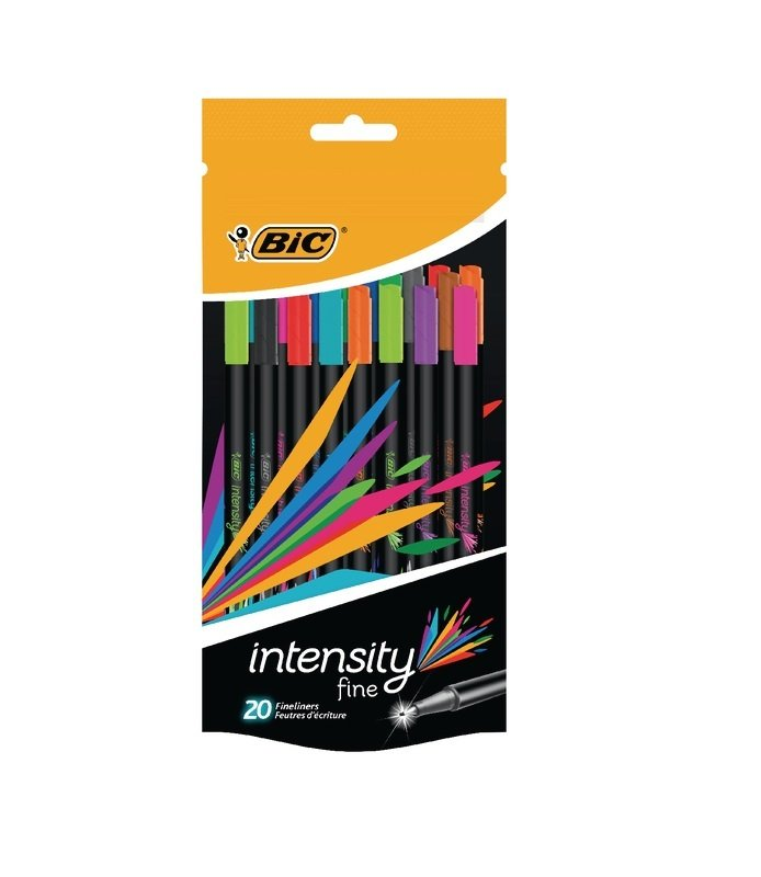 Bic Intensity Fineliner Pens Assorted ( Pack of 20)