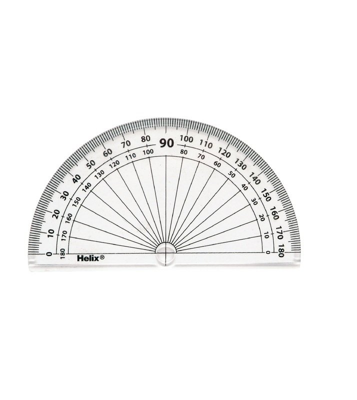 Image of Helix 10cm 180 Degree Protractor Clear (Pack of 50) H02040