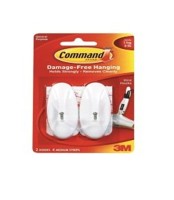 3m Command Medium Wire Hooks With Strips- 17068