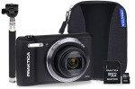 PRAKTICA Luxmedia Z212 Black Camera Kit 8GB MicroSD, Adapter, Case, Selfie Stick
