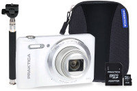PRAKTICA Luxmedia Z212 White Camera Kit 8GB MicroSD  Adapter  Case  Selfie Stick