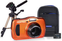 PRAKTICA Luxmedia WP240 Orange Camera Kit inc 16GB Card Case, Desktop Tripod