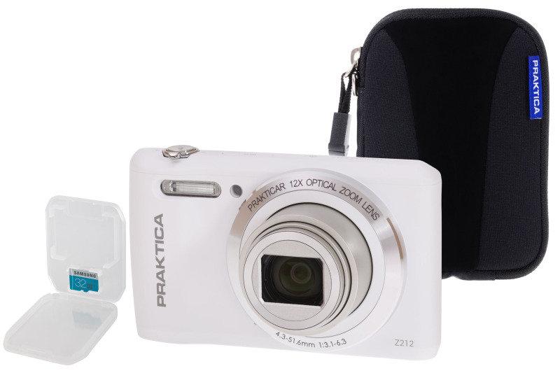 PRAKTICA Luxmedia Z212 White Camera Kit inc 32GB MicroSD Class 6 Card & Case
