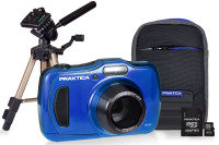 PRAKTICA Luxmedia WP240 Wtprf Blue Camera Kit inc 16GB Card Case, Desktop Tripod