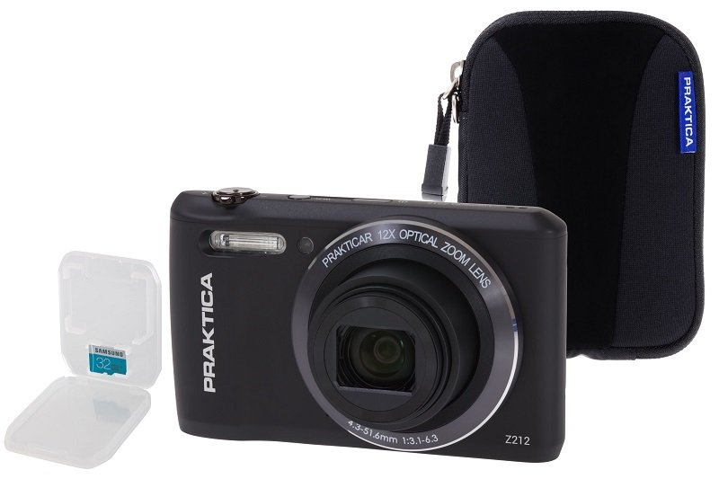 PRAKTICA Luxmedia Z212 Black Camera Kit inc 32GB MicroSD Class 6 Card & Case