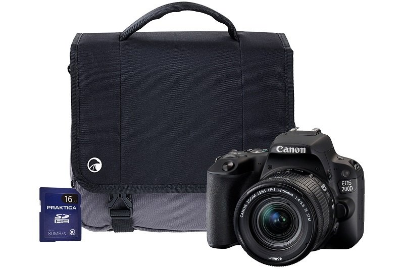 Canon EOS 200D Black SLR Camera Kit inc 18-135mm IS STM Lens, 16GB SD and Case
