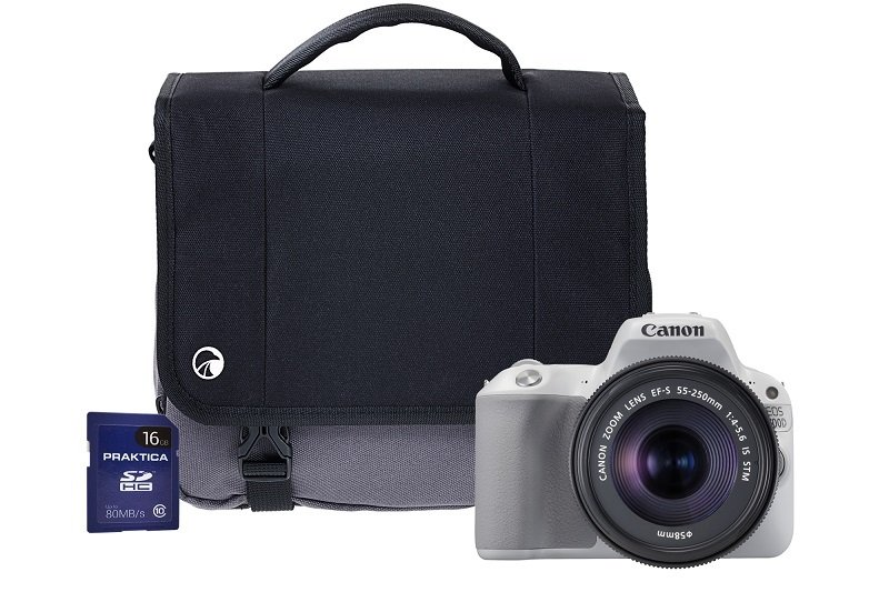 Canon EOS 200D White SLR Camera Kit inc 18-55mm IS STM Lens, 16GB SD and Case