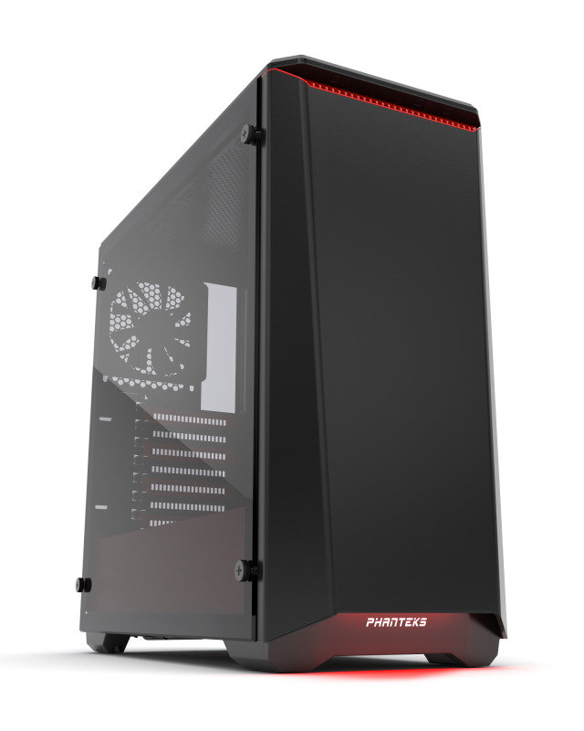 Image of Phanteks Eclipse P400S Glass Midi Tower Case - Noise Dampened Black/Red