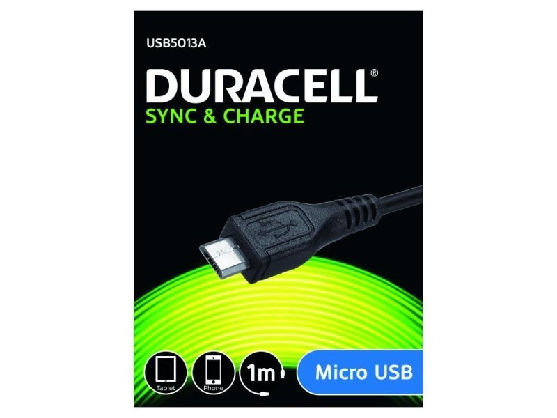 Micro Usb Sync & Charger Cable 1m / Black - Duracell