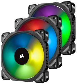Corsair ML120 PRO RGB LED 120MM PWM Premium Magnetic Levitation Fan 3 Fan Pack with Lighting Node PRO