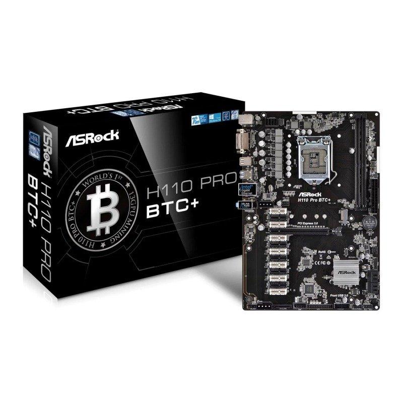 EXDISPLAY ASRock Intel H110 Pro BTC+ Crypto Mining ATX Motherboard