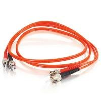 1m ST-ST 50/125 OM2 Duplex Multimode PVC Fibre Optic Cable (LSZH) - Orange