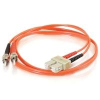 1m SC-ST 50/125 OM2 Duplex Multimode PVC Fibre Optic Cable (LSZH) - Orange