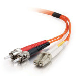 15m LC-ST 50/125 OM2 Duplex Multimode PVC Fibre Optic Cable (LSZH) - Orange