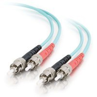 5m ST-ST 10Gb 50/125 OM3 Duplex Multimode PVC Fibre Optic Cable (LSZH) - Aqua