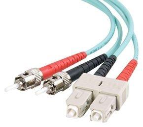 2m SC-ST 10Gb 50/125 OM3 Duplex Multimode PVC Fibre Optic Cable (LSZH) - Aqua