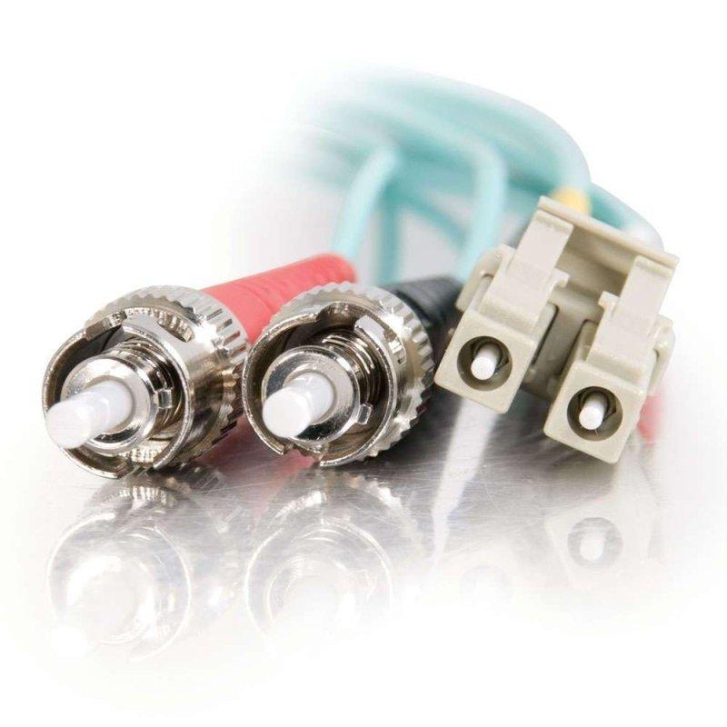7m LC-ST 10Gb 50/125 OM3 Duplex Multimode PVC Fibre Optic Cable (LSZH) - Aqua