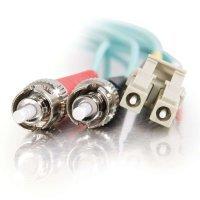 30m LC-ST 10Gb 50/125 OM3 Duplex Multimode PVC Fibre Optic Cable (LSZH) - Aqua