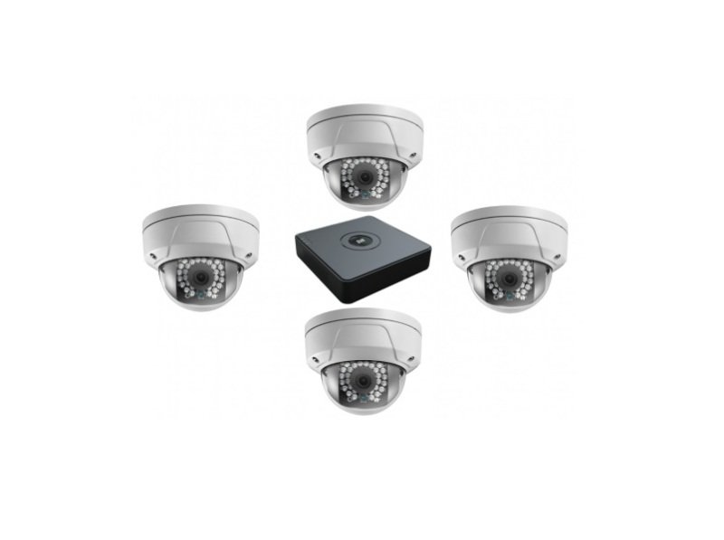 Image of 1 pcs 4-ch PoE NVR supports up to 4-ch IP video input 4 pcs PoE Dome network camera at HD1080p resolution 1 TB HDD