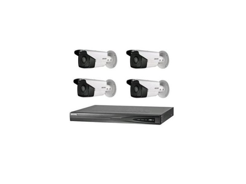 Image of 1 pcs 4-ch PoE NVR supports up to 4-ch IP video input 4 pcs PoE bullet network camera at 4MP resolution 1 TB HDD