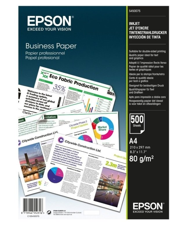 Epson A4, 80gsm Business Paper- 500 Sheets
