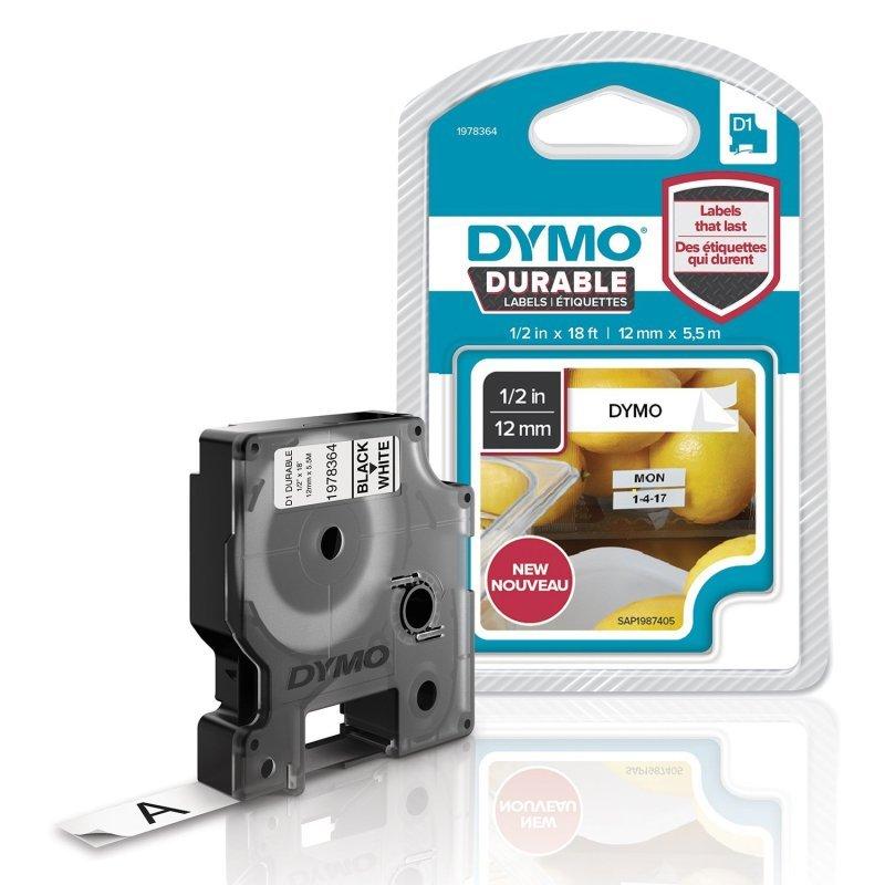 Dymo D1 Labelling Tape Black on White 12mmx3m 1978364