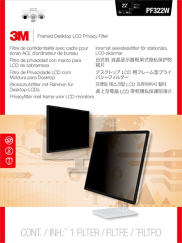"""Image of 3M Framed Privacy Filter for 22"""" Widescreen Monitor"""