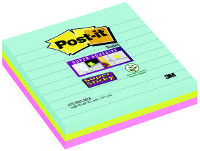 Post-it Super Sticky Lined Notes Miami XL 101x101mm 675-SS3-MIA