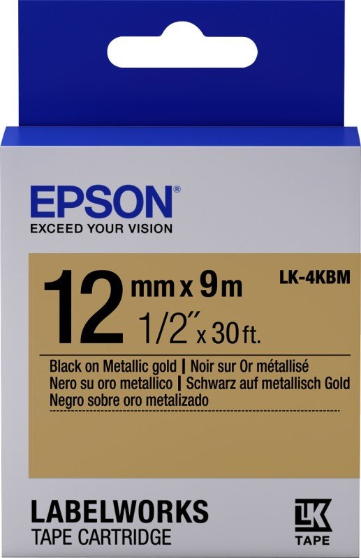 Label/LK-4KBM Metallic 12mm x 9m BK/GD