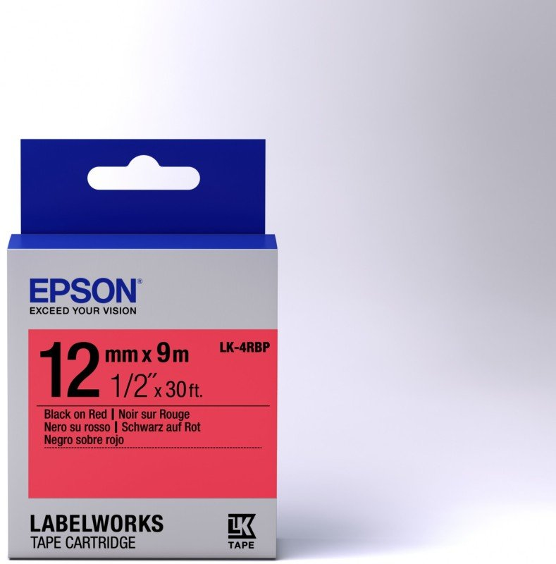 Epson Label Cartridge Pastel LK-4RBP Black/Red 12mm (9m)