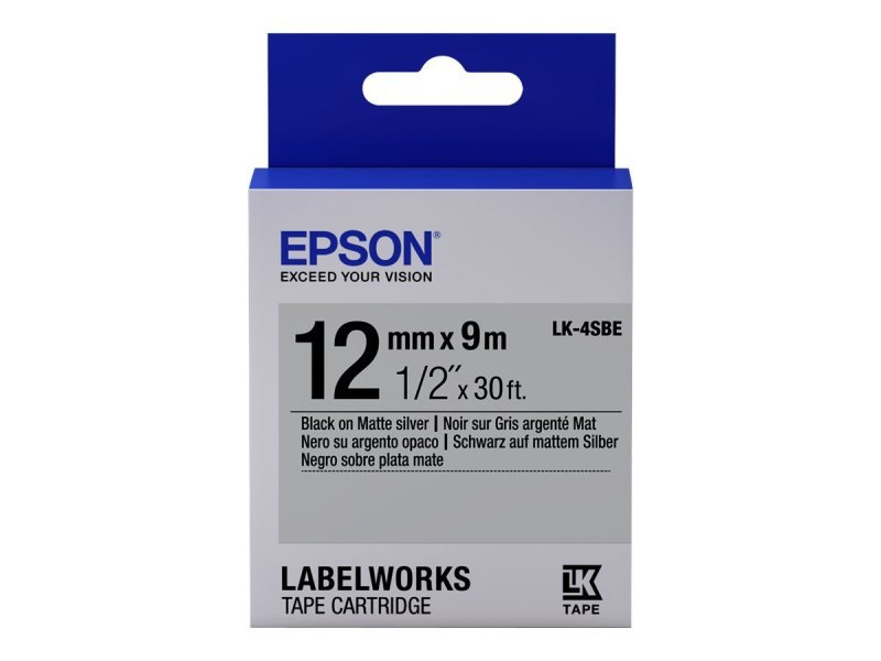 Epson Label Cartridge Matte LK-4SBE Black/Matt Silver 12mm (9m)