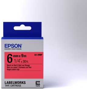 Epson Label Cartridge Pastel LK-2RBP Black/Red 6mm (9m)
