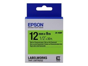 Epson Label Cartridge Fluorescent LK-4GBF Black/Green 12mm (9m)