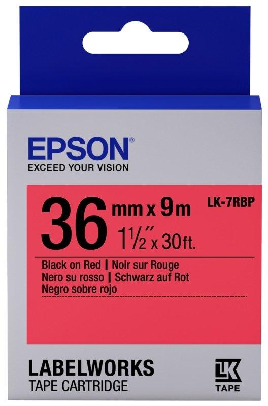 Epson Label Cartridge Pastel LK-7RBP Black/Red 36mm (9m)