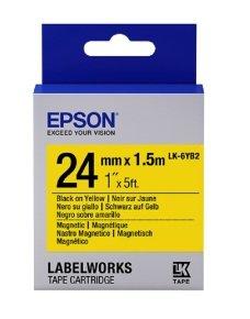 Epson Label Cartridge Magnetic LK-6YB2 Black/Yellow 24mm (1.5m)