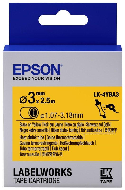 Epson Label Cartridge Heat Shrink Tube (HST) LK-4YBA3 Black/Yellow D3mm (2.5m)