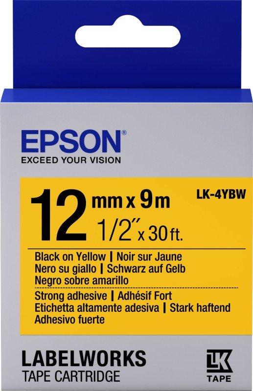 Epson Label Cartridge Strong Adhesive LK-4YBW Black/Yellow 12mm (9m)