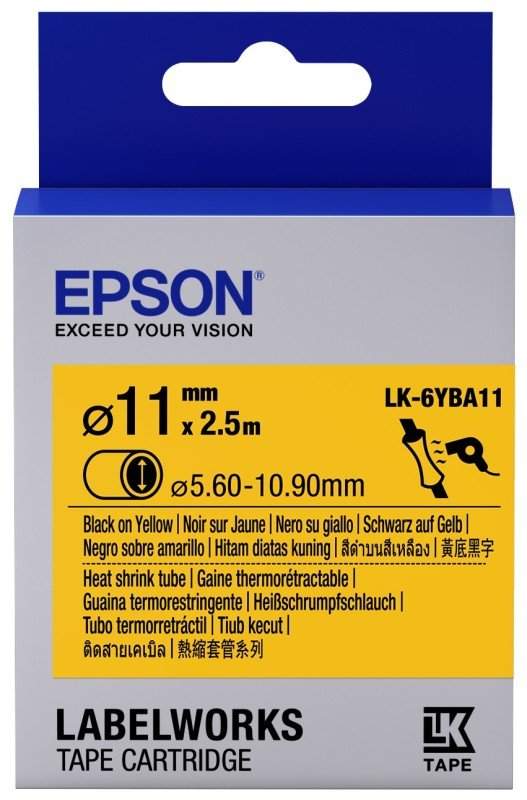 Epson Label Cartridge Heat Shrink Tube (HST) LK-6YBA11 Black/Yellow D11mm (2.5m)