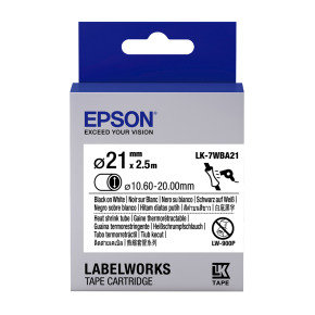 Epson Label Cartridge Heat Shrink Tube (HST) LK-7WBA21 Black/White D21mm (2.5m)