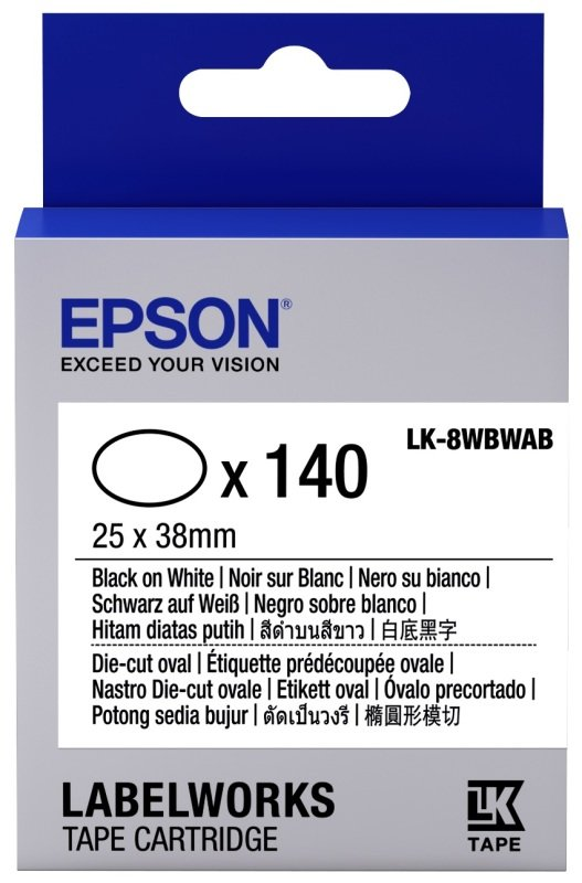Epson Label Cartridge Die-cut Oval LK-8WBWAB Black/White 25x38mm (140 labels)