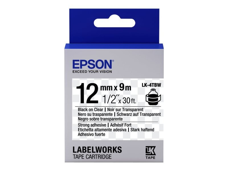 Epson Label Cartridge Strong Adhesive LK-4TBW Black/Transparent 12mm (9m)