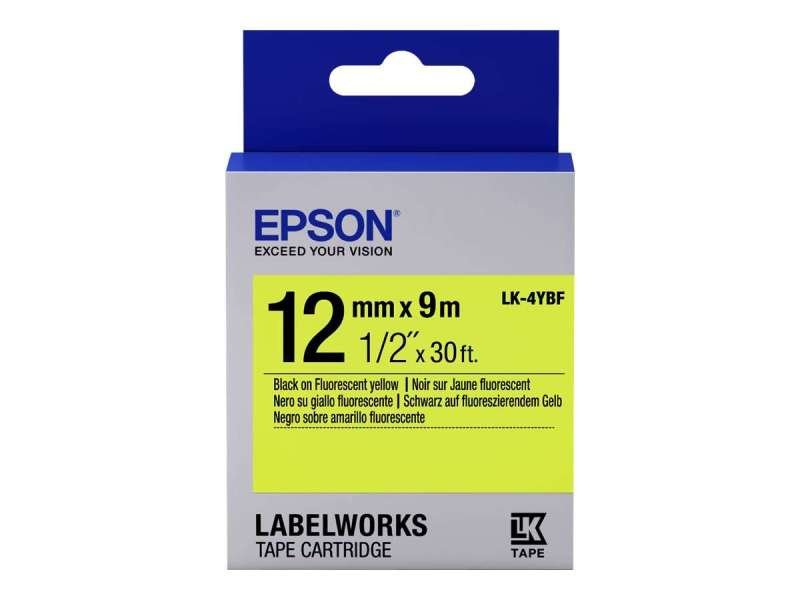 Epson Label Cartridge Fluorescent LK-4YBF Black/Yellow 12mm (9m)
