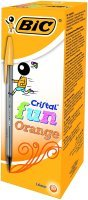 Bic Cristal Fun Ballpoint Pen 1.6mm Tip 0.6mm Line Orange (Pack 20)