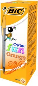 Bic Cristal Fun Ballpoint Pen 1.6mm Tip 0.6mm Line Orange (Pack 20)