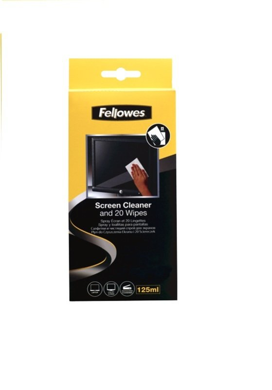 Fellowes 125ml Screen Cleaning Spray with 20 Absorbent Wipes