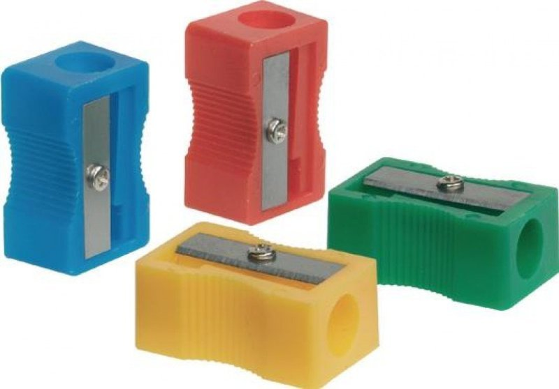 Q-Connect Plastic Pencil Sharpener Single Hole Assorted (Pack of 10) KF76992
