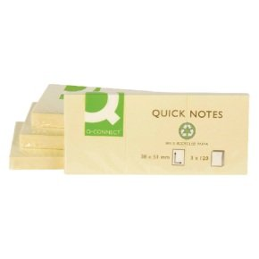 Q-Connect Repositionable Recycled Quick Notes  (12Pk)