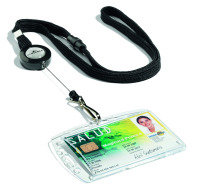 Durable Textile Lanyard With Badge Reel Black 10PK