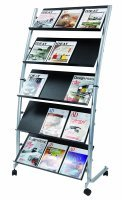 5 Shelf Single Sided Mobile Literature Display Stand