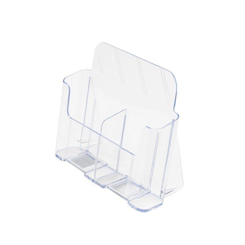 Image of Deflecto (1/3 A4 Portrait) 2 Pocket Low Back 2 Compartment Literature Holder